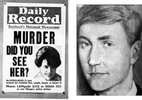 "Left: 1968 newspaper article about ""Bible John"" victim Patricia Docker. Right: Artist's rendering of ""Bible John"""