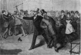 An engraving of James A. Garfield's assassination, published in Frank Leslie's Illustrated Newspaper.